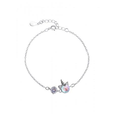 Cute Unicorn Charm Bracelet For Womens In Sterling Silver