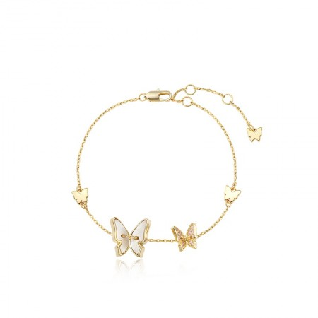 Unique Yellow Butterfly Charm Bracelet For Womens In Sterling Silver
