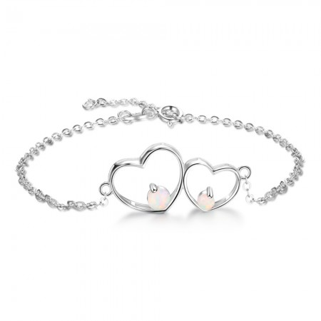 Unique Double Heart Charm Opal Bracelet For Womens In Sterling Silver