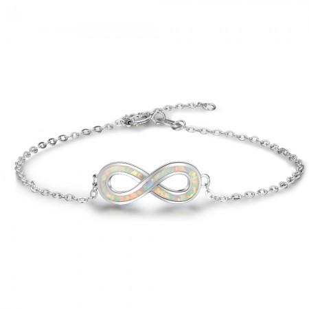 Infinity Charm Opal Bracelet For Womens In 925 Sterling Silver
