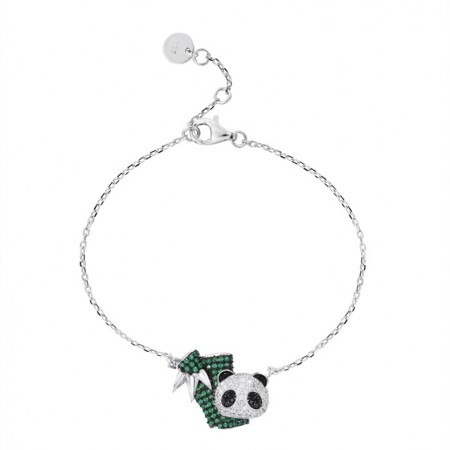 Cute Panda Charm Bracelet For Womens In Sterling Silver And Cubic Zirconia