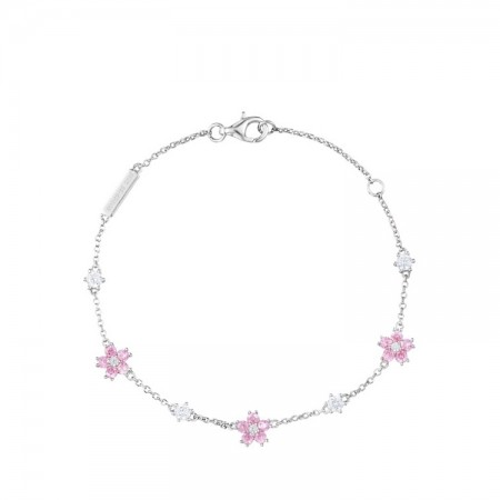 Unique Cherry Blossoms Charm Bracelet For Womens In Sterling Silver