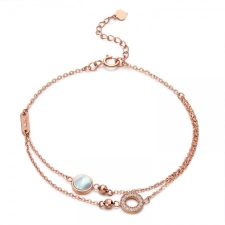 Unique Shell Rose Double Chain Bracelet For Women In 18K Gold