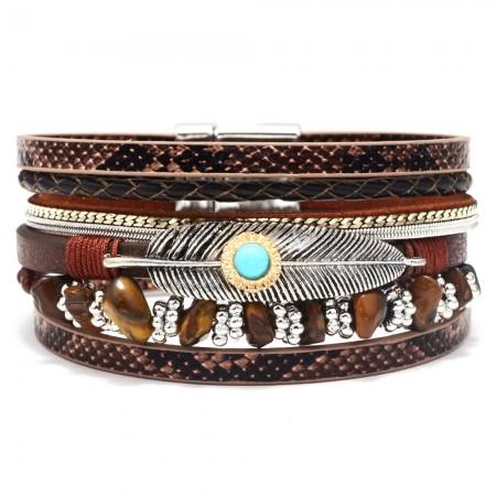 Unique Feather Leather Bracelet For Women