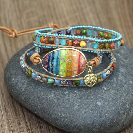 Unique Rainbow Bohemian Ethnic Beaded Bracelet For Women
