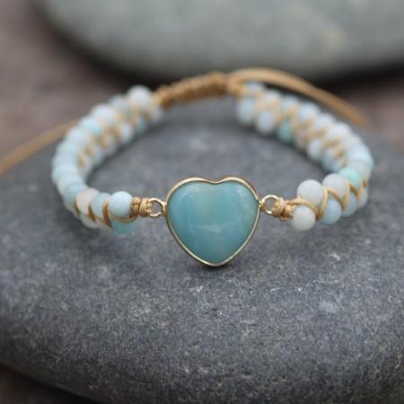 Unique Heart Charm Beaded Bracelet For Women