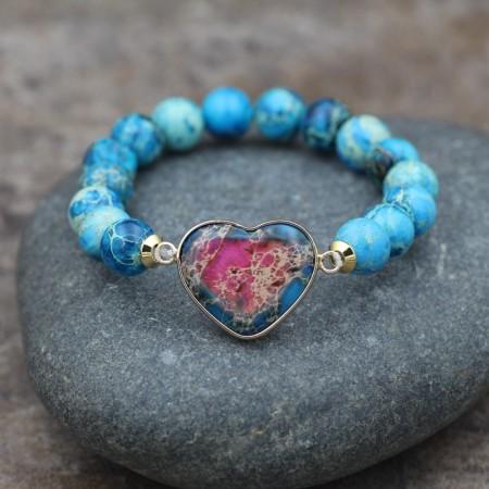 Cute Heart Charm Beaded Bracelet For Women