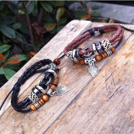 Black Cross Rivet Woven Bracelet