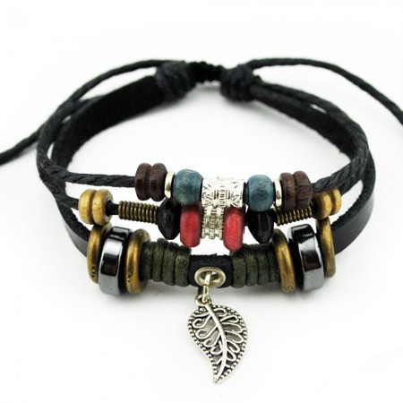 Woven Leaf Alloy Pendant Leather Bracelet