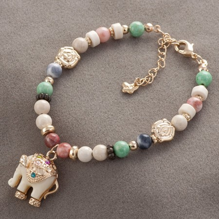 Vintage Colorful Gems With Featured Elephant Pendant Women's Bracelet