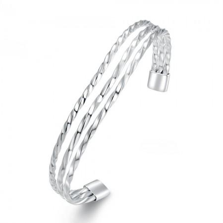 Simple Popular Twisted Wire Open Silver Bracelet