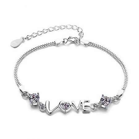 "Fashion Sweet S925 Silver Inlaid Letters ""LOVE""  Cz Bracelet"