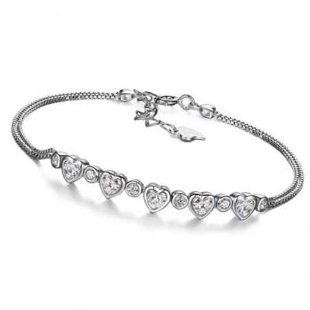 Stylish Simplicity Mutual Affinity 925 Sterling Silver Bracelet