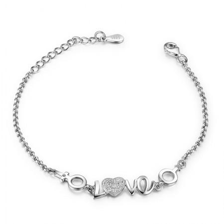 """Korean Version Of Sweet """"LOVE"""" 925 Sterling Silver Inlaid Cubic Zirconia Bracelet"""