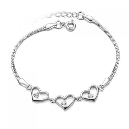 Simple Temperament Lovely Heart 925 Sterling Silver Bracelet