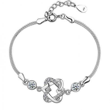 Simple Lovely Temperament Heart To Heart Shape 925 Sterling Silver Bracelet