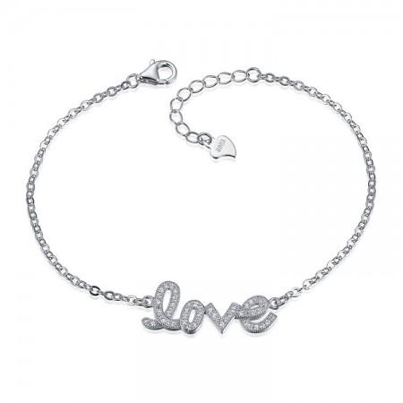 "Fashion Creative Personality ""LOVE"" S925 Silver Bracelet"