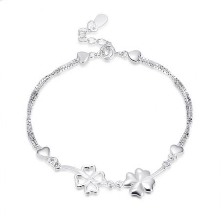 Korean Fashion Clover Modeling 925 Sterling Silver Bracelet