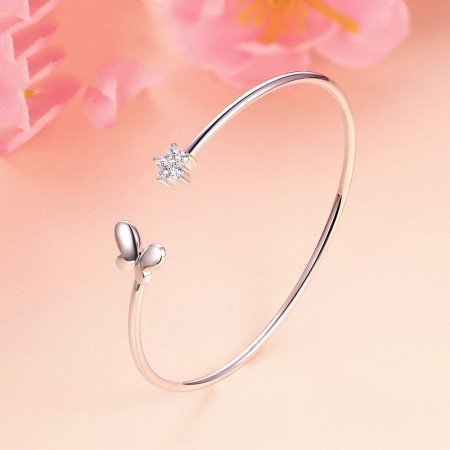 Fashion Sweet Temperament Star Bow Shape 925 Silver Bracelet