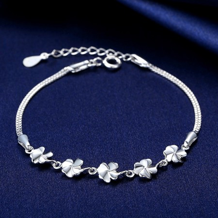 Exquisite Accessories Four Leaf Clover 925 Sterling Silver Women's Bracelet
