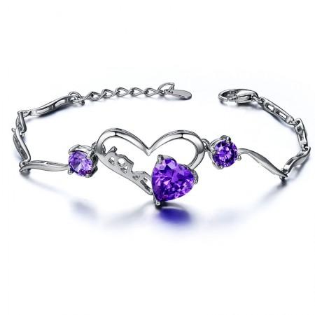 """Elegant Fashion Simple """"LOVE"""" Modeling 925 Silver Crystal Bracelet"""