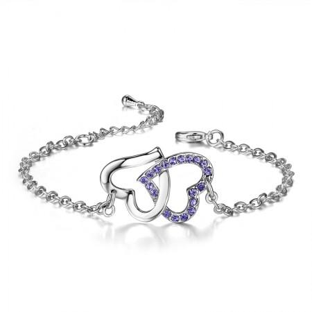 Luxury Fashion Love-Shaped Copper Plated White Gold Shining Diamond Bracelet