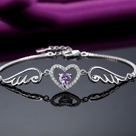 Contracted Personality S925 Silver Inlaid Cubic Zirconia Heart Bracelet
