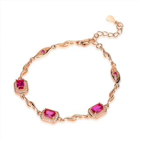 New Sweet 925 Sterling Silver Plated Rose Gold Inlaid Red Corundum Bracelet