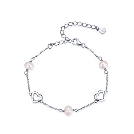Simple Fashion 925 Silver Hollow Heart Connect Pearl Bracelet