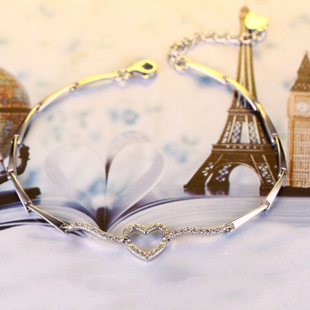 Sweet And Simple Noble Temperament 925 Silver Heart-Shaped Bracelet
