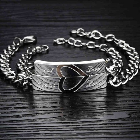 Love Stitching Quality Titanium Steel Lettering Lover's Bracelet