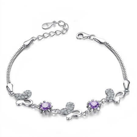 Wild New 925 Silver Butterfly Fashion Bracelet With Purple Cubic Zirconia