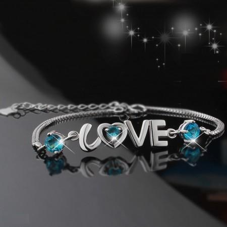 "925 Silver Fashion Heart-Shaped ""I Love You"" Bracelet For Woman"
