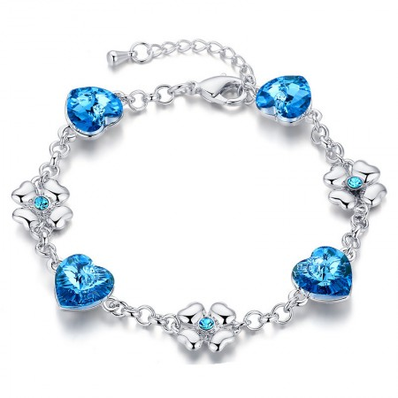Pure Aesthetic Classic Sparkling Crystal Heart-Shaped Bracelet