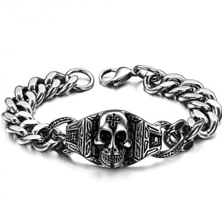 Classic Domineering Titanium Steel Skull Bracelet For Halloween