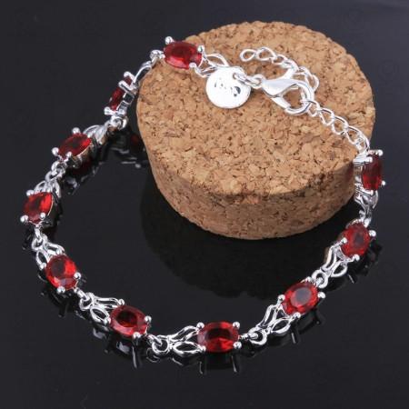 Delicate Zircon Inlaid Ruby Bracelet