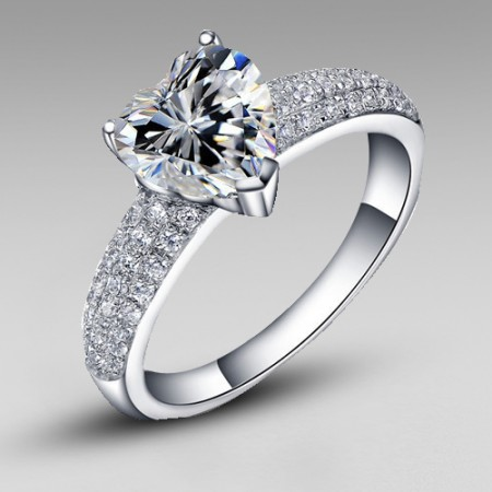 Princess Style Cubic Zirconia Heart 925 Sterling Silver Platinum Plated Women's Ring