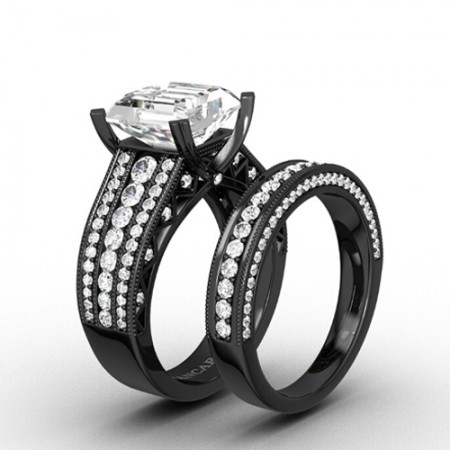 Black Antique Wedding Ring Set Bridal Set with Asscher Cut Cubic Zirconia 925 Sterling Silver