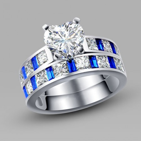 Heart Cut White and Blue Cubic Zirconia Silver Women's Wedding Ring Set/Promise Ring