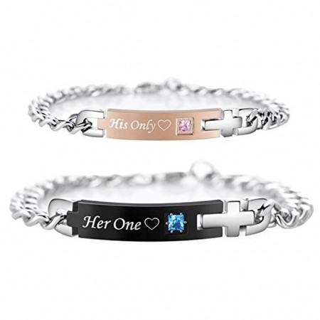 His Only Her One Titanium Matching Bracelets for Couple (Price For A Pair)