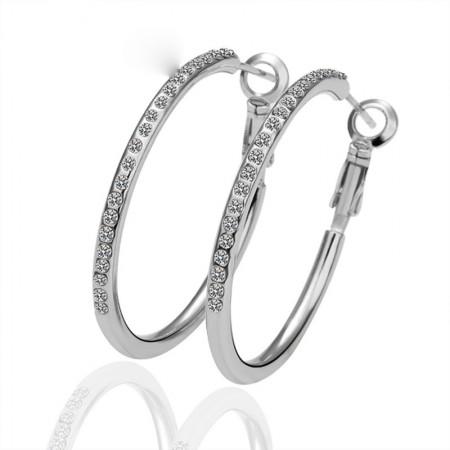 Fashion Row Diamond Hoop Earrings