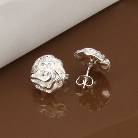 925 Silver-Plated Rose Earrings