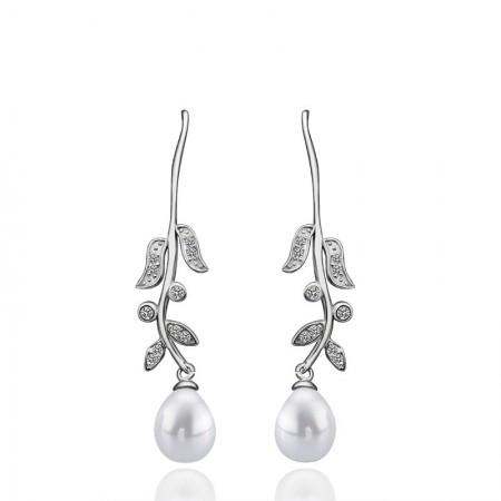 Long Section Of Pearl Leaves Earrings
