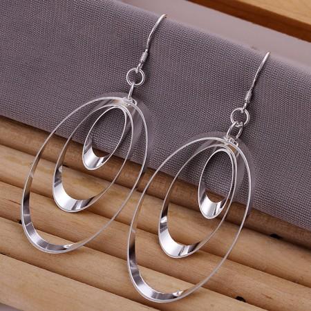 Fashion Three Discs 925 Silver Earrings