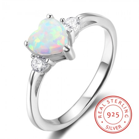 925 Sterling Silver Women's Heart Cut Opal Stone Promise Ring/Engagement Ring