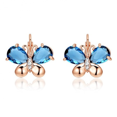 New Charming 18K Gold Plated Alloy Butterfly With Crystalline Wings Women's Earrings