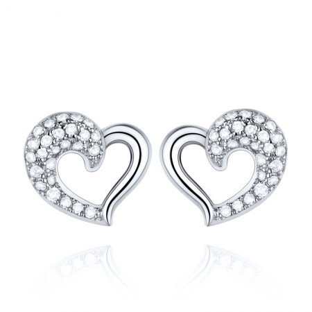 Silver Plated Platinum Solid Hand Craftsmanship Heart-Shaped Earrings