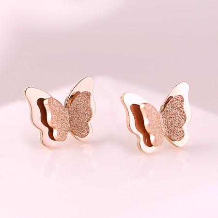 18K Rose Gold-Plated Fashion Matte Cute Butterfly Earrings