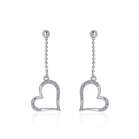 Korean Version Of The Popular Hot Sale 925 Silver Heart-Shaped Earrings