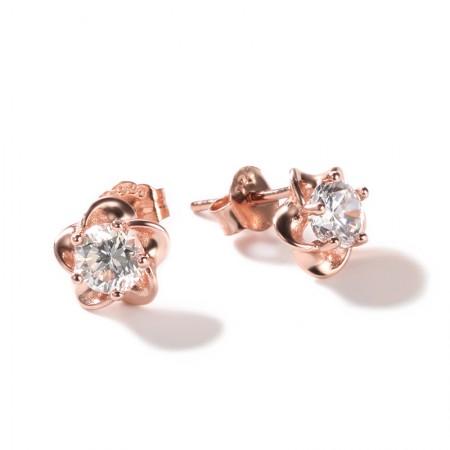 925 Silver Plated 18K Rose Gold Mini Simple Sweet Earrings
